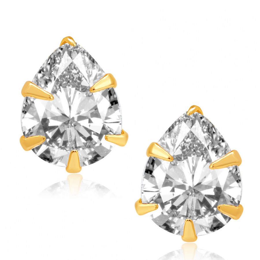 Buy Pissara Youthful Gold and Rhodium Plated CZ Earrings For Women Online