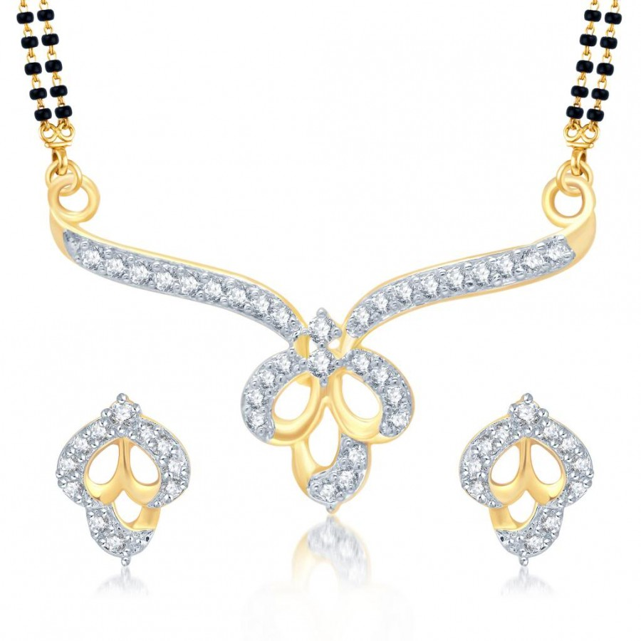 Buy Pissara Wavy Gold and Rhodium Plated Cubic Zirconia Stone Studded Mangalsutra Set Online