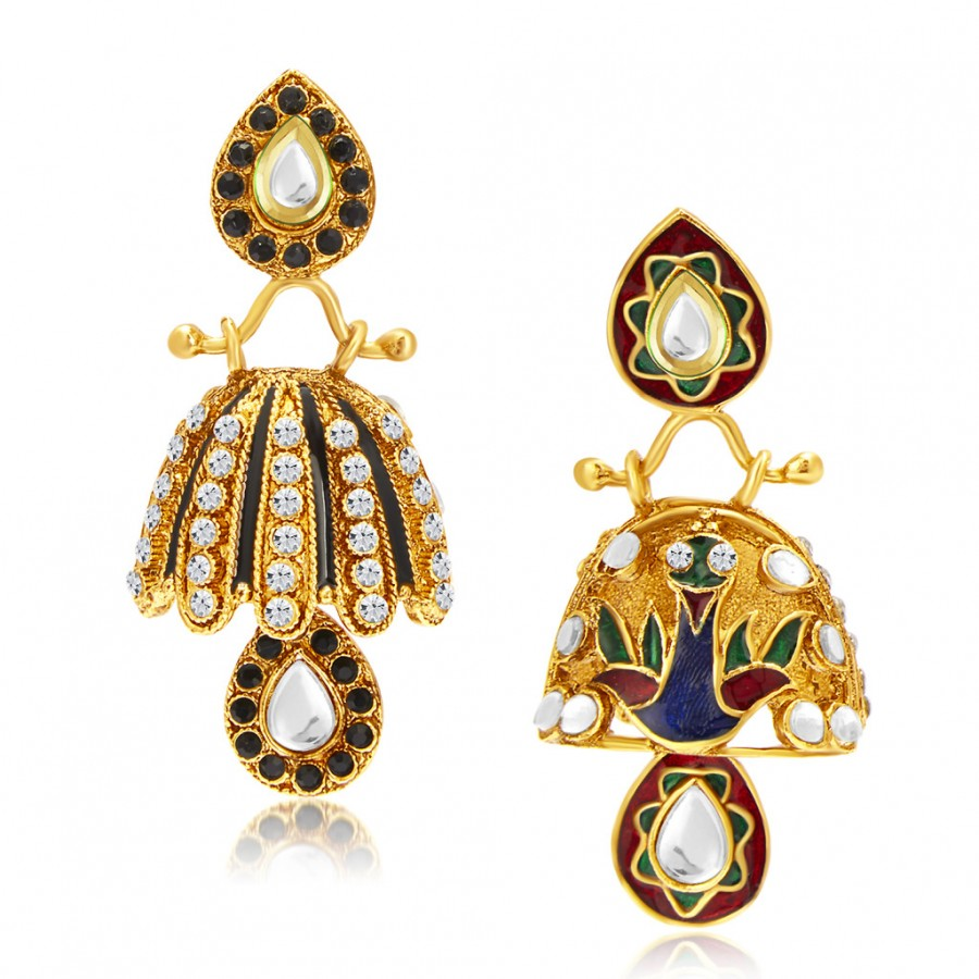 Buy Sukkhi Sublime Meenakari Gold Plated AD and Kundan Reversible Jhumki Earring For Women Online