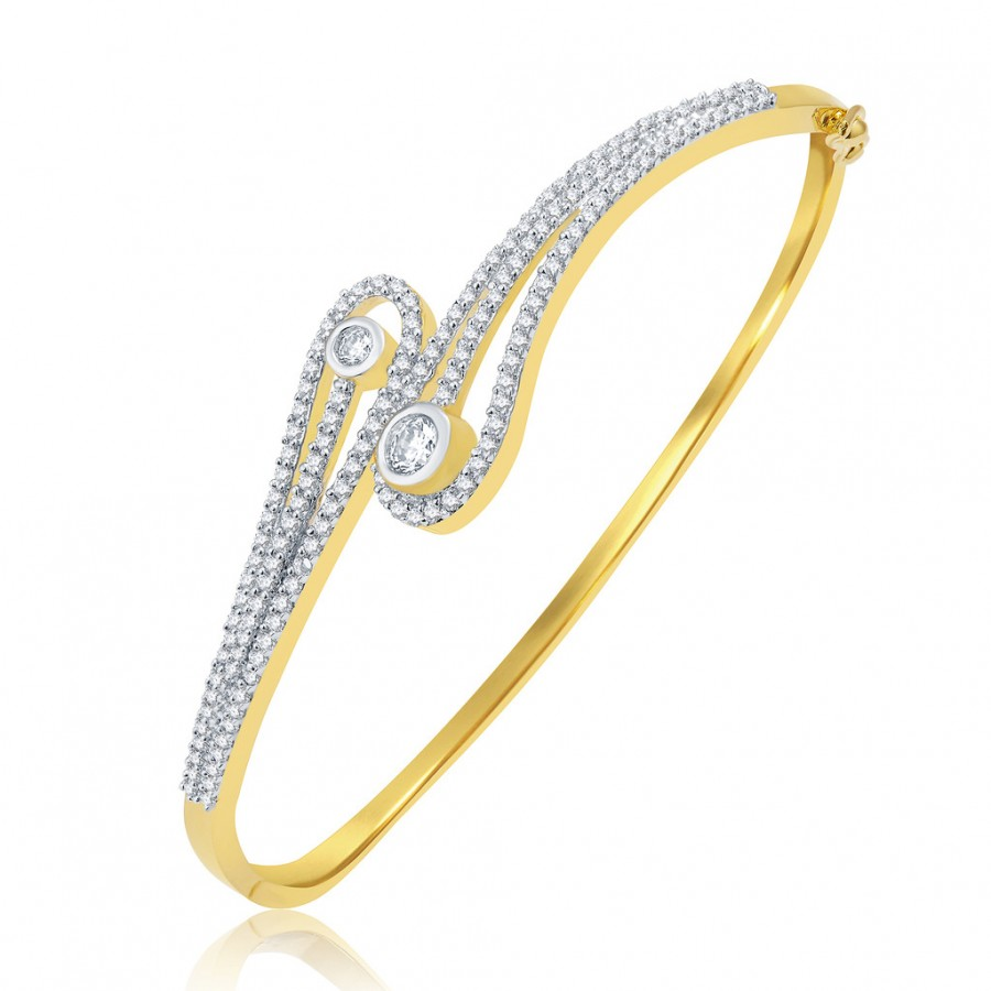 Buy Pissara Alluring Gold And Rhodium Plated CZ Kada For Women Online
