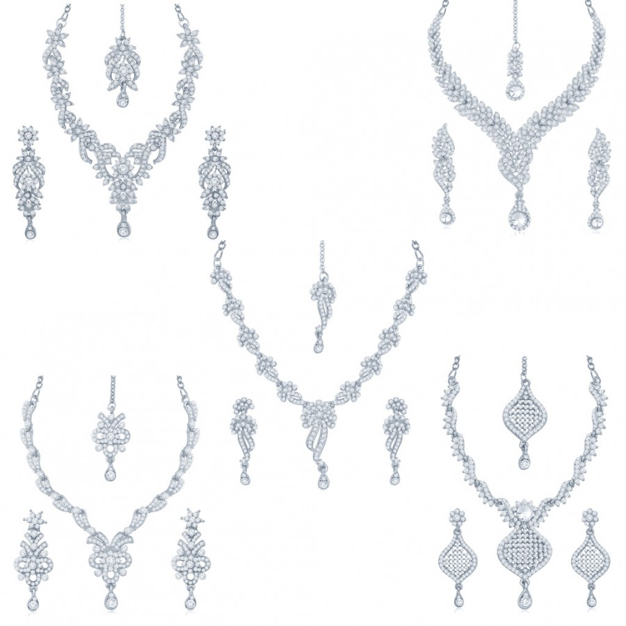Buy Sukkhi Artistically 5 Pieces Necklace Set Combo Online