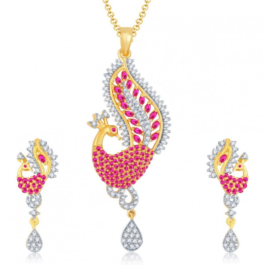 Buy Pissara Angelic Gold and Rhodium Plated Cubic Zirconia and Ruby Stone Studded Pendant Set Online