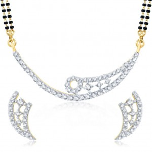 Buy Pissara Alluring Gold and Rhodium Plated Cubic Zirconia Stone Studded Mangalsutra Set Online