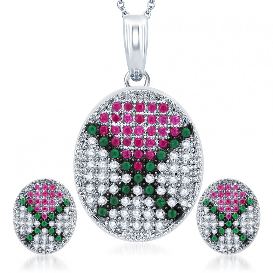 Buy Pissara Bewitching Rhodium Plated Emerald Ruby CZ Micro Pave Pendant Set Online