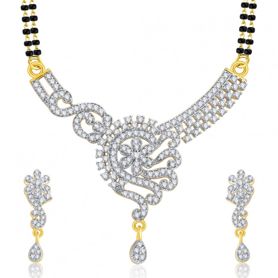 Buy Pissara Dapper Gold And Rhodium Plated CZ Mangalasutra Set For Women Online