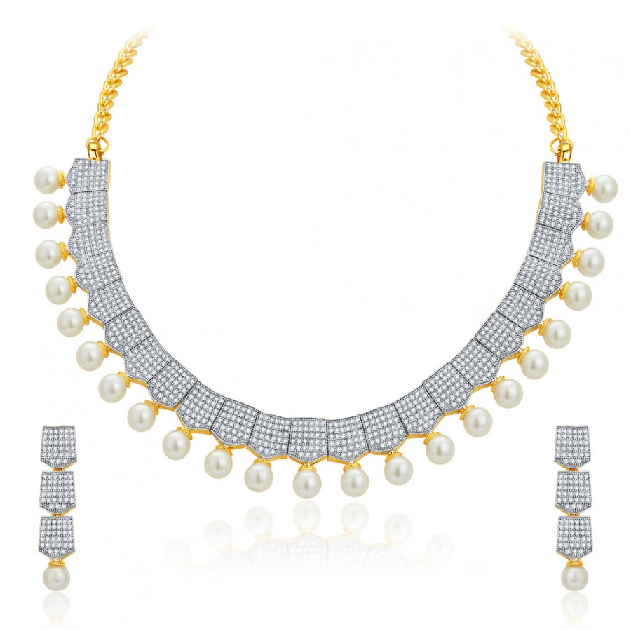 Buy Pissara Exotic Gold and Rhodium Plated CZ Necklace Set For Women Online