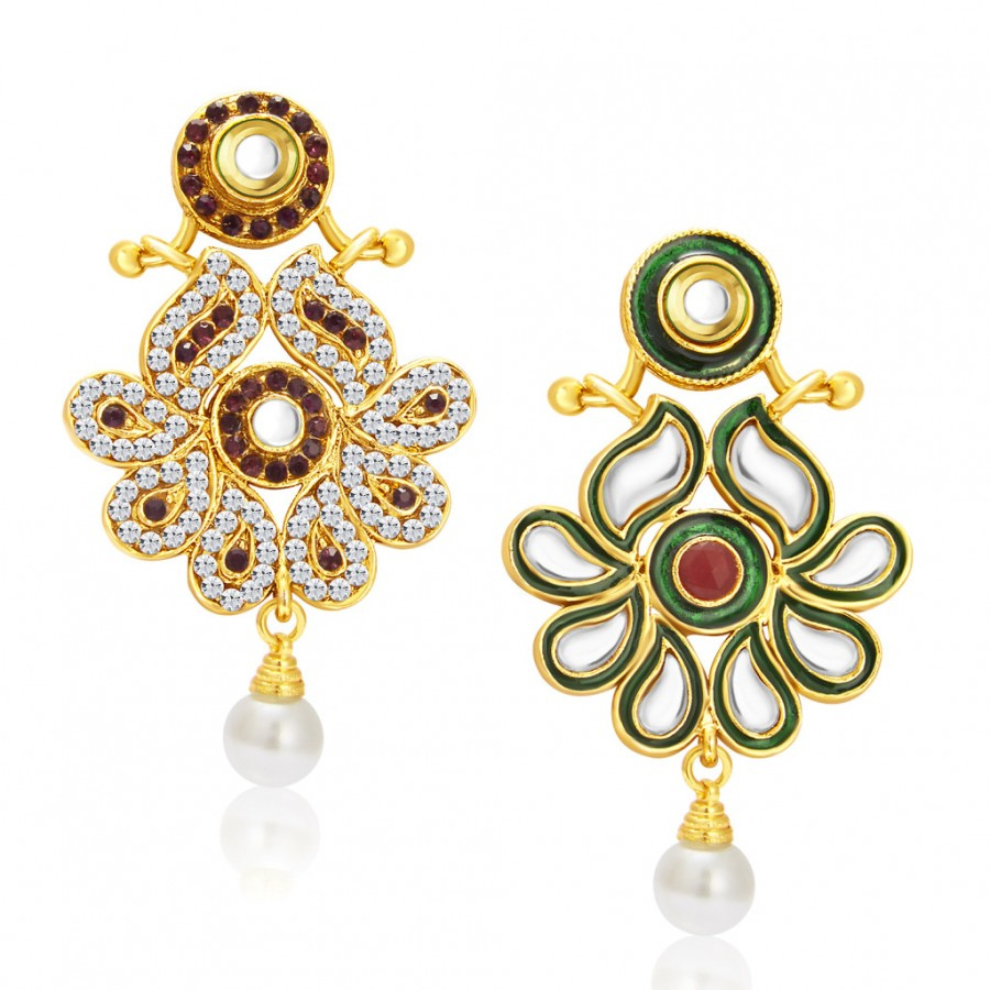 Buy Sukkhi Sleek Gold Plated Kundan Reversible Earring For Women Online