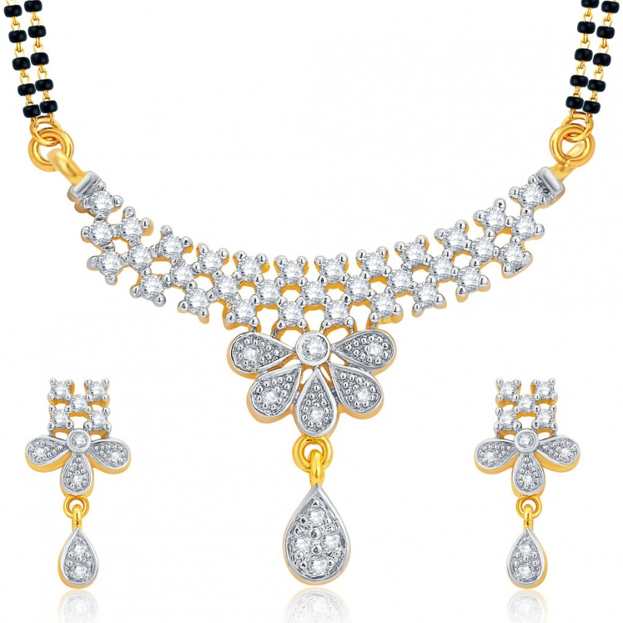 Buy Pissara Designer Gold and Rhodium Plated CZ Mangalsutra Set For Women Online