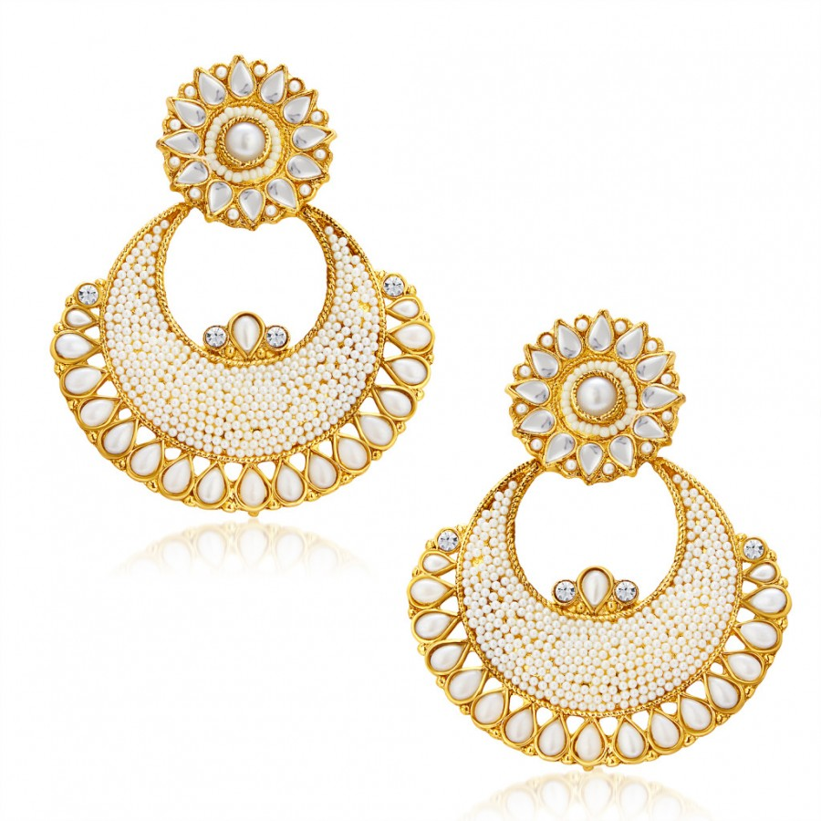 Buy Sukkhi Beguiling Gold Plated Chandbali Earring For Women Online