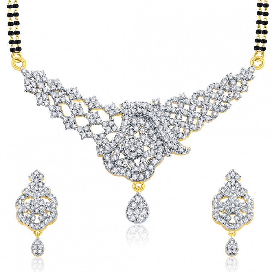 Buy Pissara Luscious Gold And Rhodium Plated CZ Mangalasutra Set For Women Online