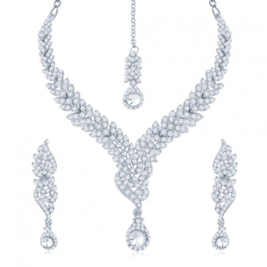 Buy Sukkhi Beguilling Rhodium Plated Australian Diamond Stone Studded Necklace Set Online