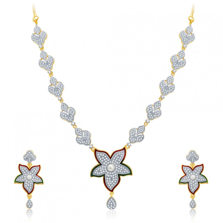 Buy Pissara Feminine Gold And Rhodium Plated CZ Neklace Set For Women Online