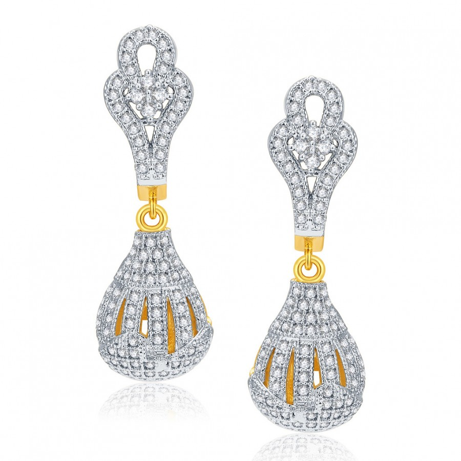 Buy Pissara Astonishing Gold And Rhodium Plated CZ Earrings For Women Online