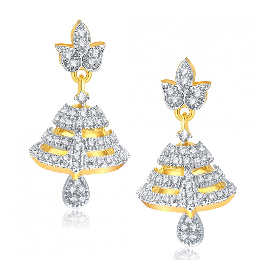 Buy Pissara Pleasant Gold And Rhodium Plated CZ Jhumki For Women Online