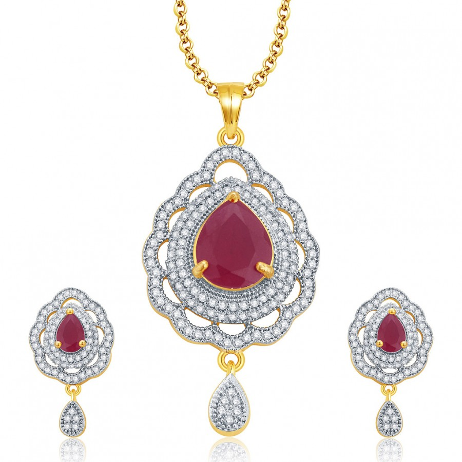 Buy Pissara Imposing Gold And Rhodium Plated Ruby CZ Pendant Set For Women Online
