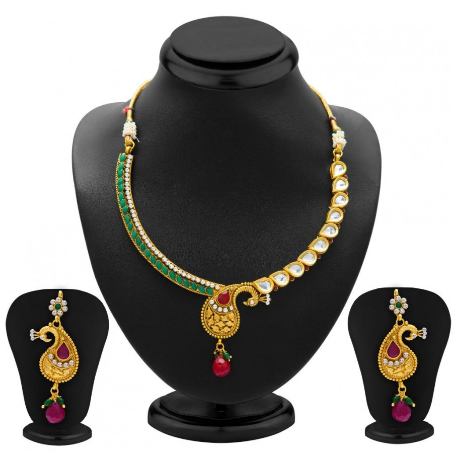 Buy Sukkhi Pretty Peacock Gold Plated Kundan Necklace Set for Women Online