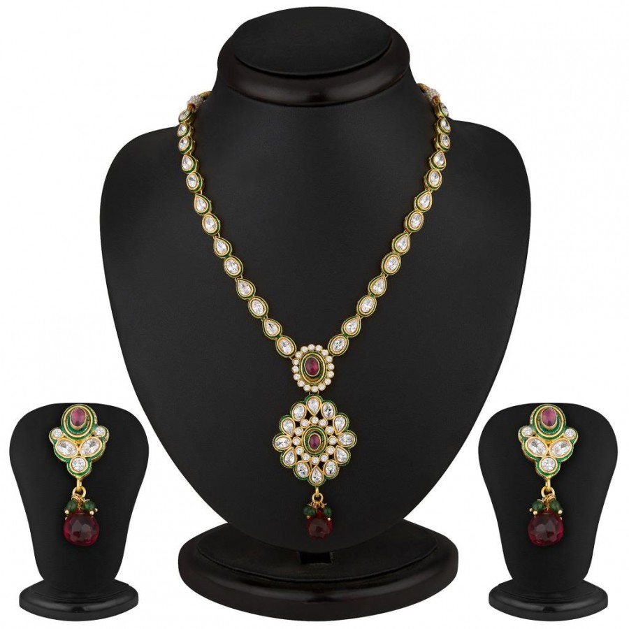 Buy Sukkhi Incredible Gold Plated CZ Rodo Light Necklace Set Online