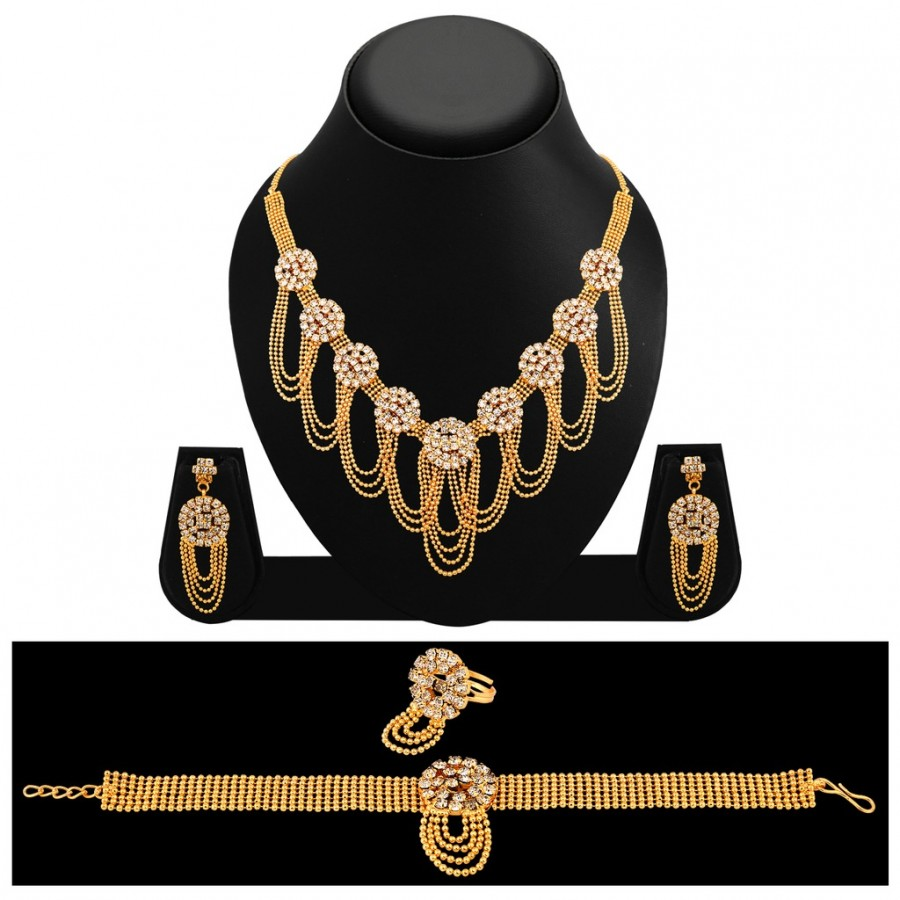 Buy Sukkhi Classic Gold Plated AD Necklace Set For Women Online