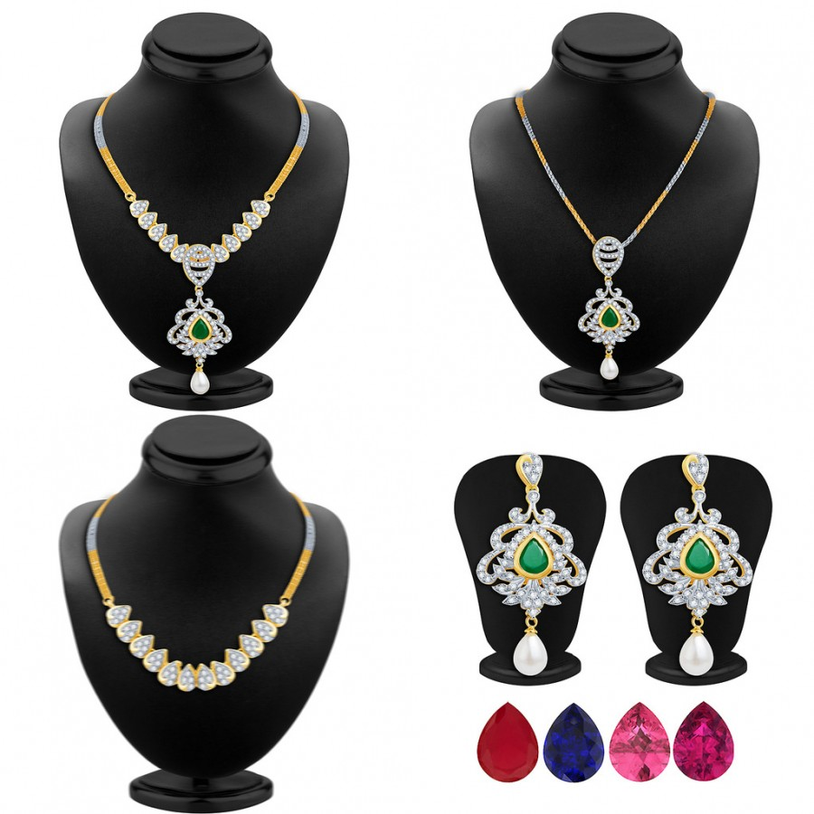 Buy Pissara Classic Detachable 4 in 1 CZ Jewellery Set with Chain and 5 Changeable Stone Online