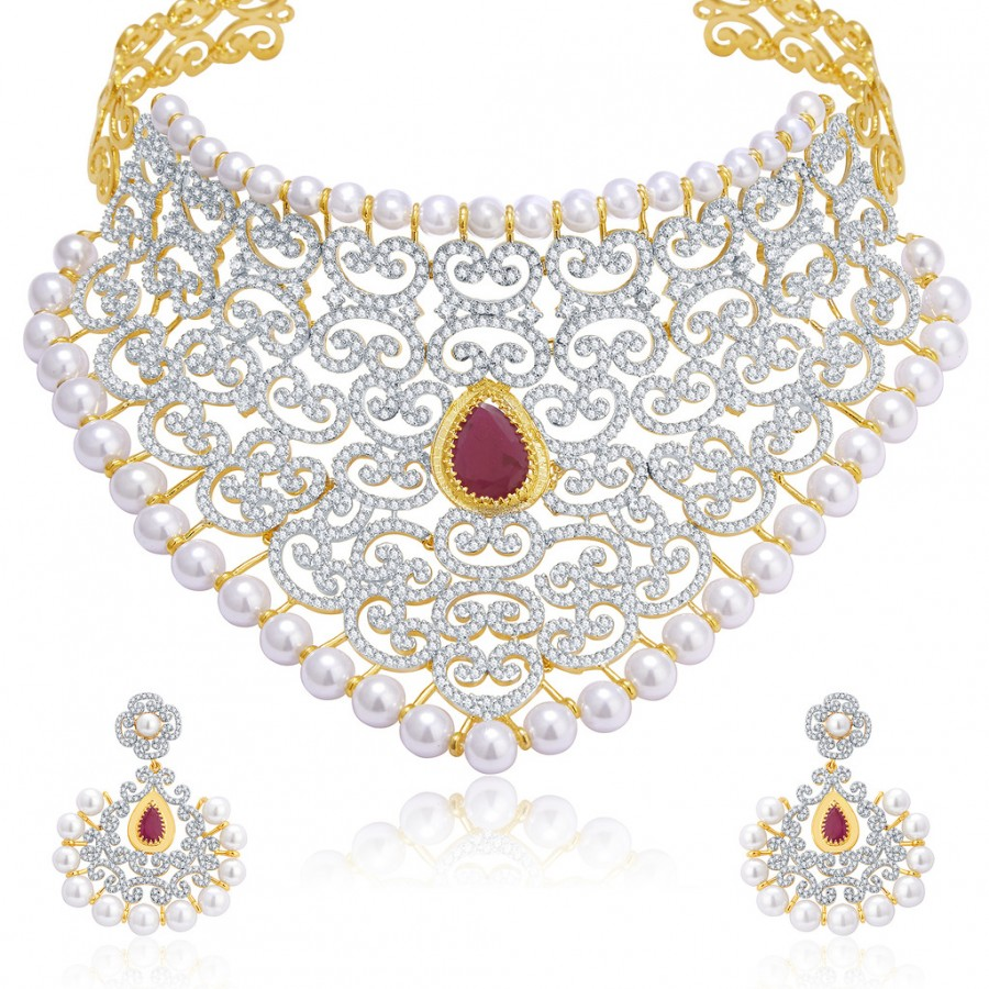 Buy Pissara Luxurious Gold And Rhodium Plated Ruby CZ Neklace Set For Women Online