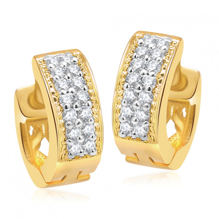 Buy Pissara Lovely Gold And Rhodium Plated CZ Earrings For Women Online