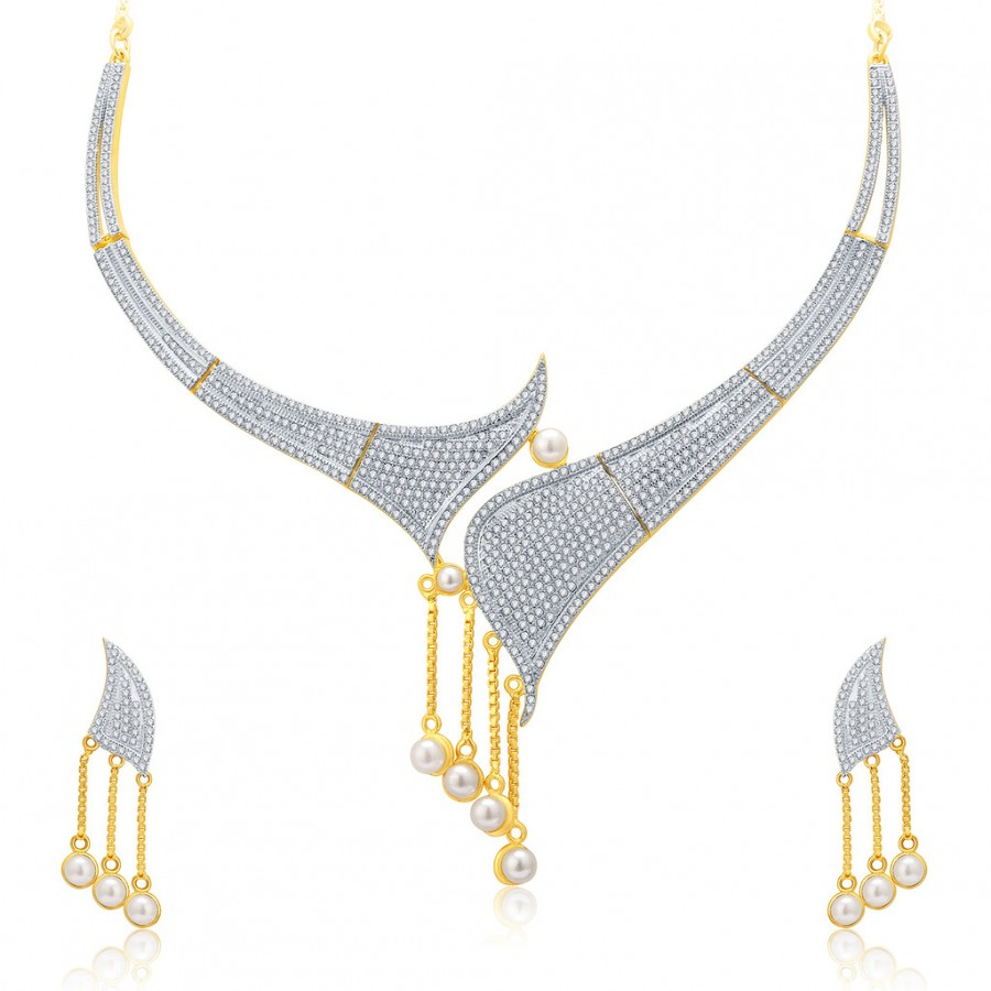 Buy Pissara Splendid Gold And Rhodium Plated CZ Neklace Set For Women Online