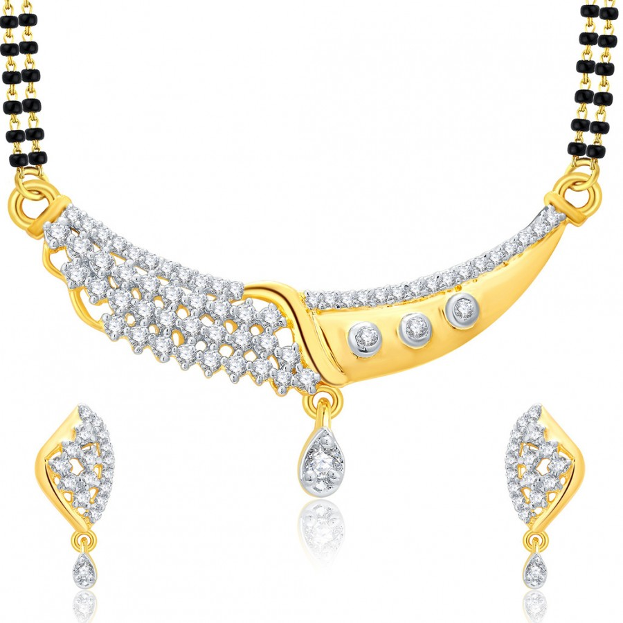 Buy Pissara Glitzy Gold And Rhodium Plated CZ Mangalasutra Set For Women Online