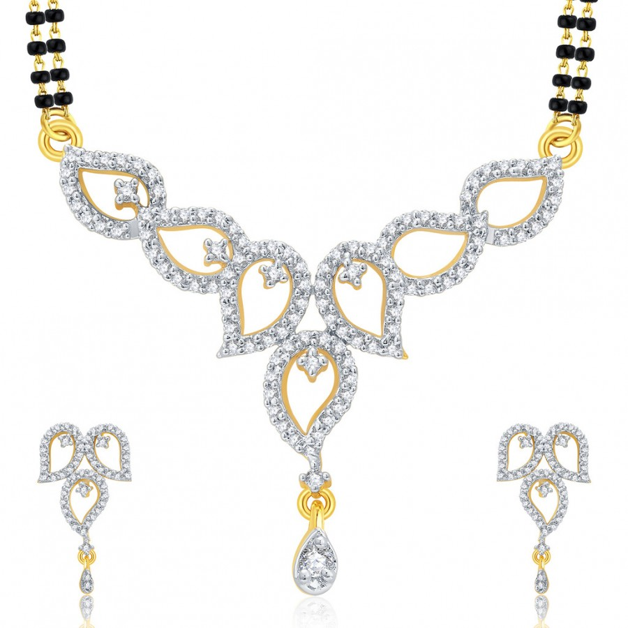 Buy Pissara Gleaming Gold And Rhodium Plated CZ Mangalasutra Set For Women Online