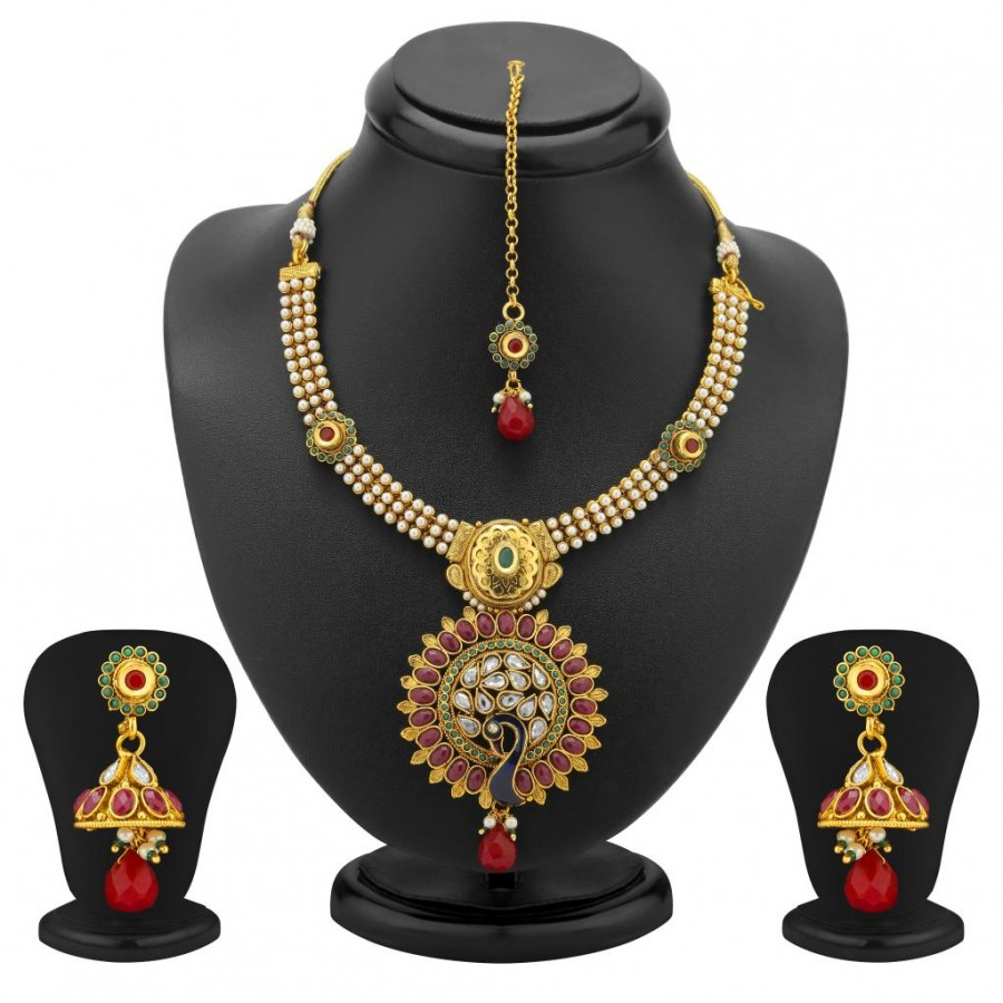 Buy Sukkhi Glorius Gold Plated Peacock Antique Necklace Set Online