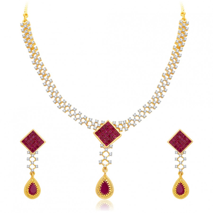 Buy Pissara Stylish Gold Plated CZ Necklace Set For Women Online