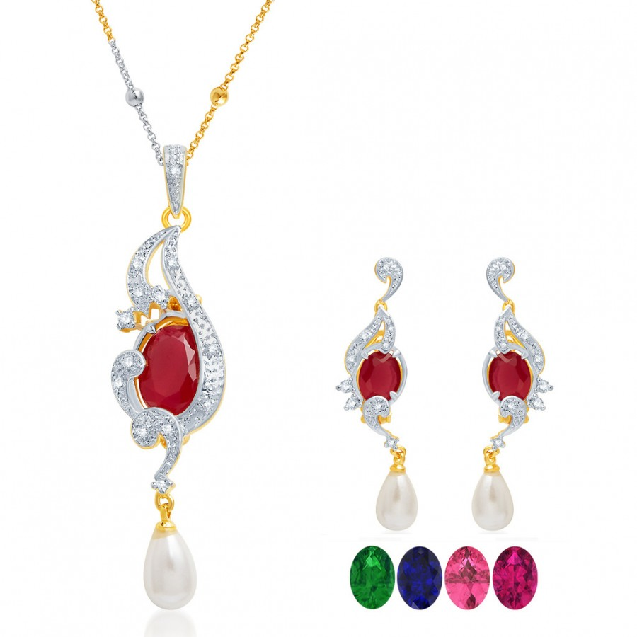 Buy Pissara Brilliant Gold and Rhodium Plated CZ Pendant Set with Set of 5 Changeable Stone Online