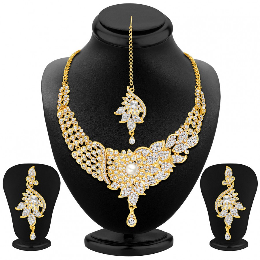 Buy Sukkhi Glorious Gold Plated AD Necklace Set Online
