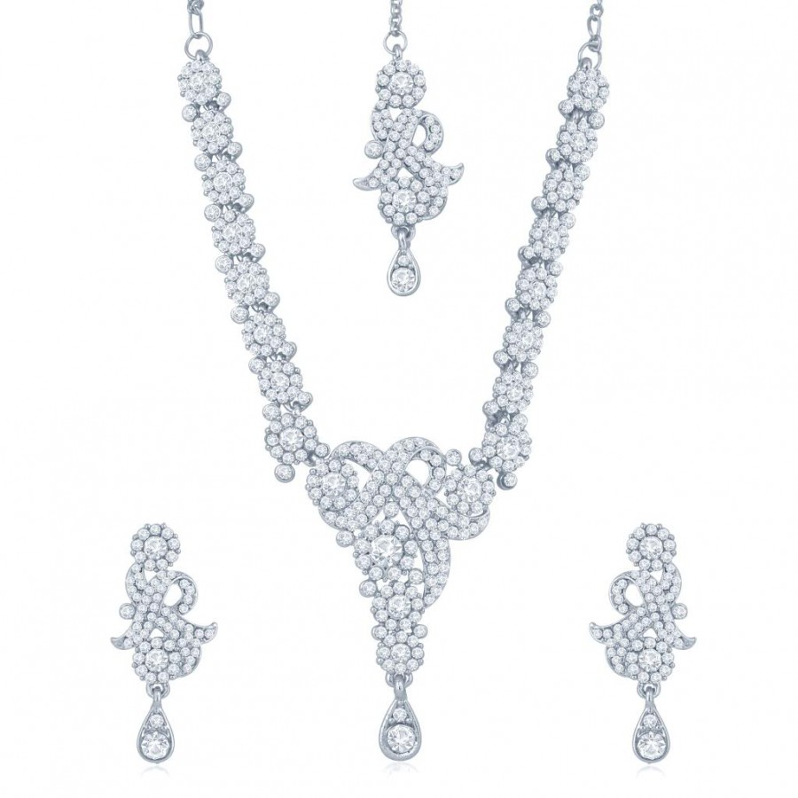Buy Sukkhi Enchanting Rhodium Plated Australian Diamond Stone Studded Necklace Set Online