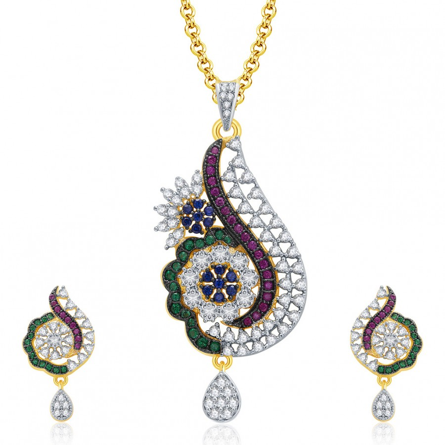 Buy Pissara Exceptional Gold And Rhodium Plated CZ Pendant Set For Women Online