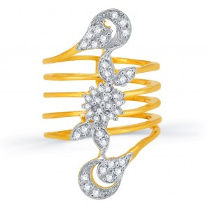 Buy Pissara Classic Gold and Rhodium Plated CZ Spring Ring for Women Online