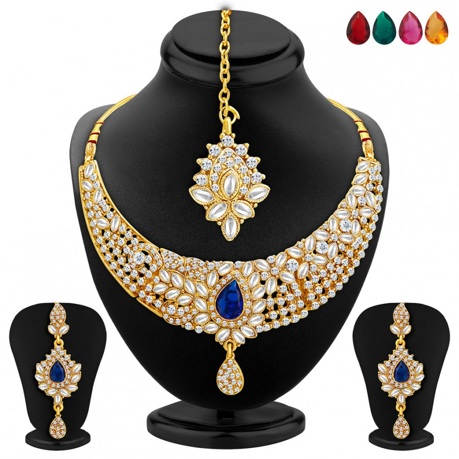 Buy Sukkhi Stylish Gold Plated AD Necklace Set with Set of 5 Changeable Stone Online