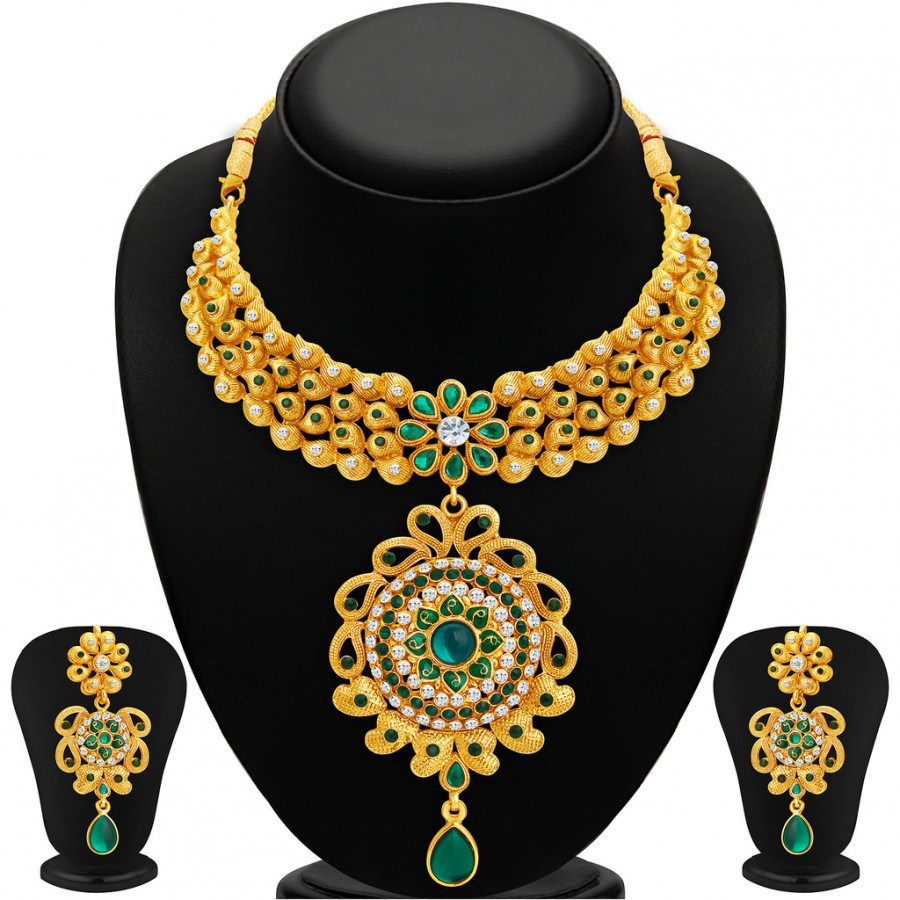 Buy Sukkhi Glorious Gold Plated AD Necklace Set For Women Online
