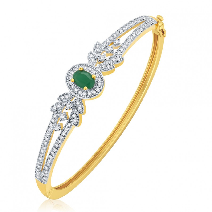 Buy Pissara Integral Gold And Rhodium Plated Emerald CZ Kada For Women Online