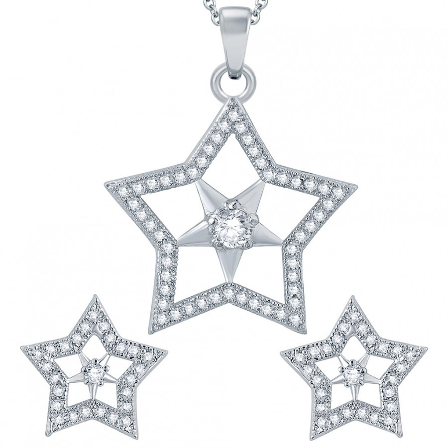 Buy Pissara Exotic Star Rhodium plated Micro Pave Setting CZ Pendant Set Online