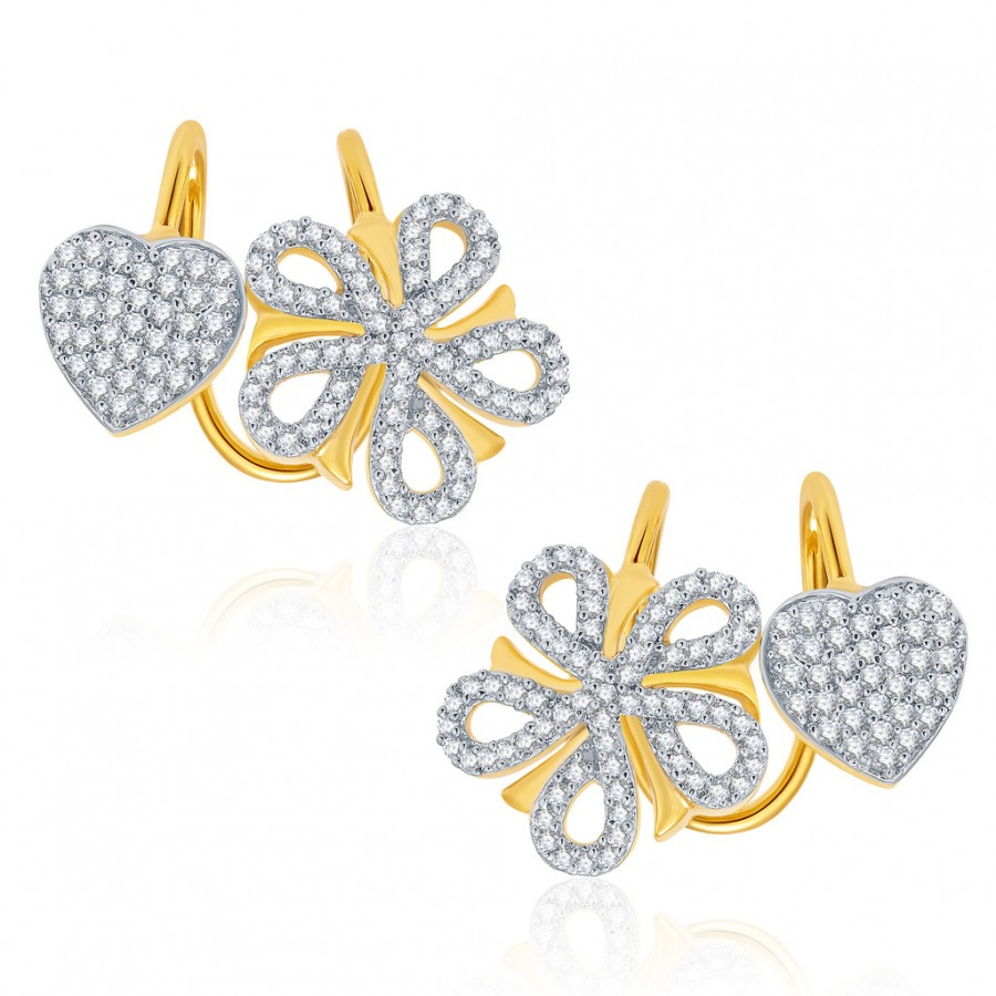 Buy Pissara Glorious Gold And Rhodium Plated CZ Earcuff For Women Online