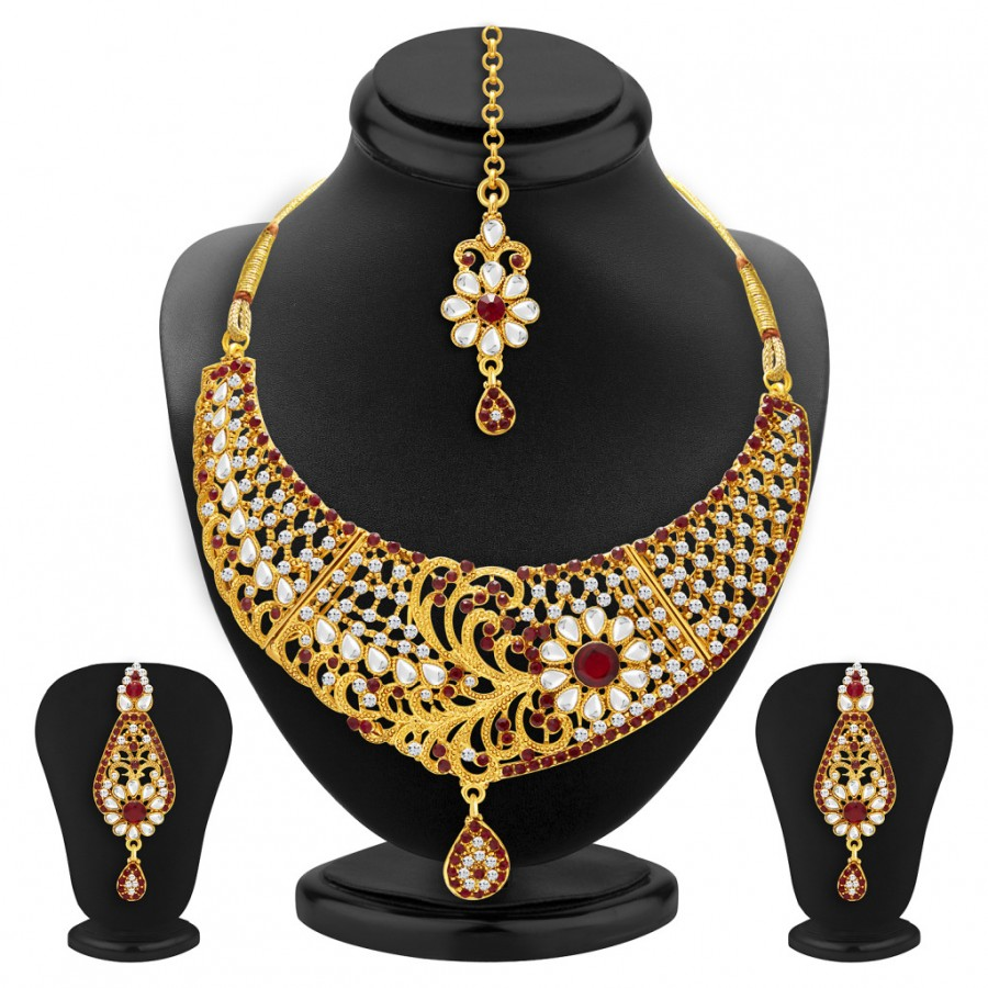 Buy Sukkhi Blossomy Gold Plated AD and Kundan Necklace Set For Women Online