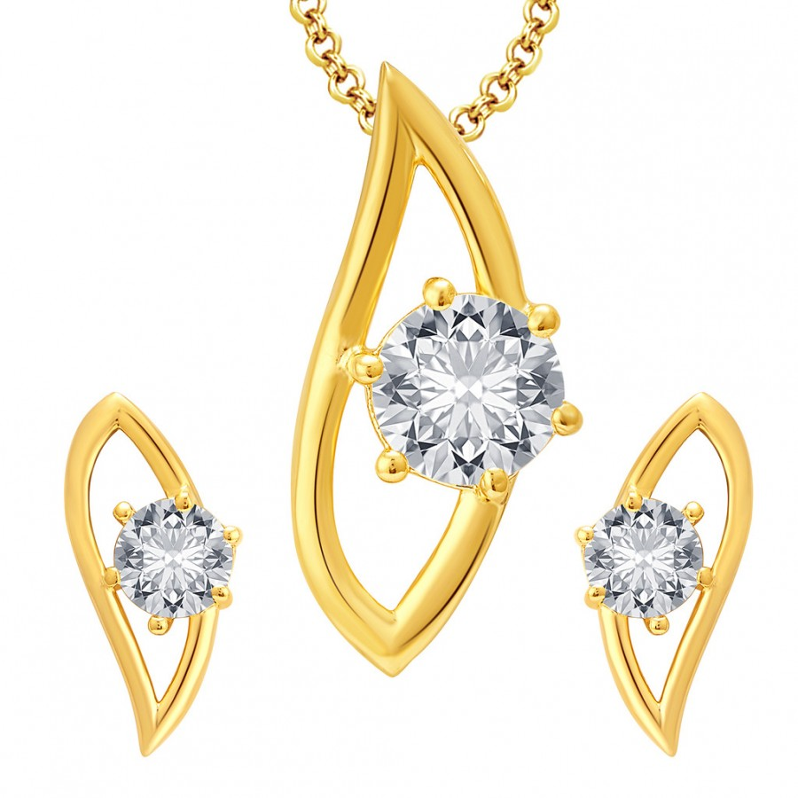 Buy Pissara Charming Gold Plated CZ Pendant Set For Women Online
