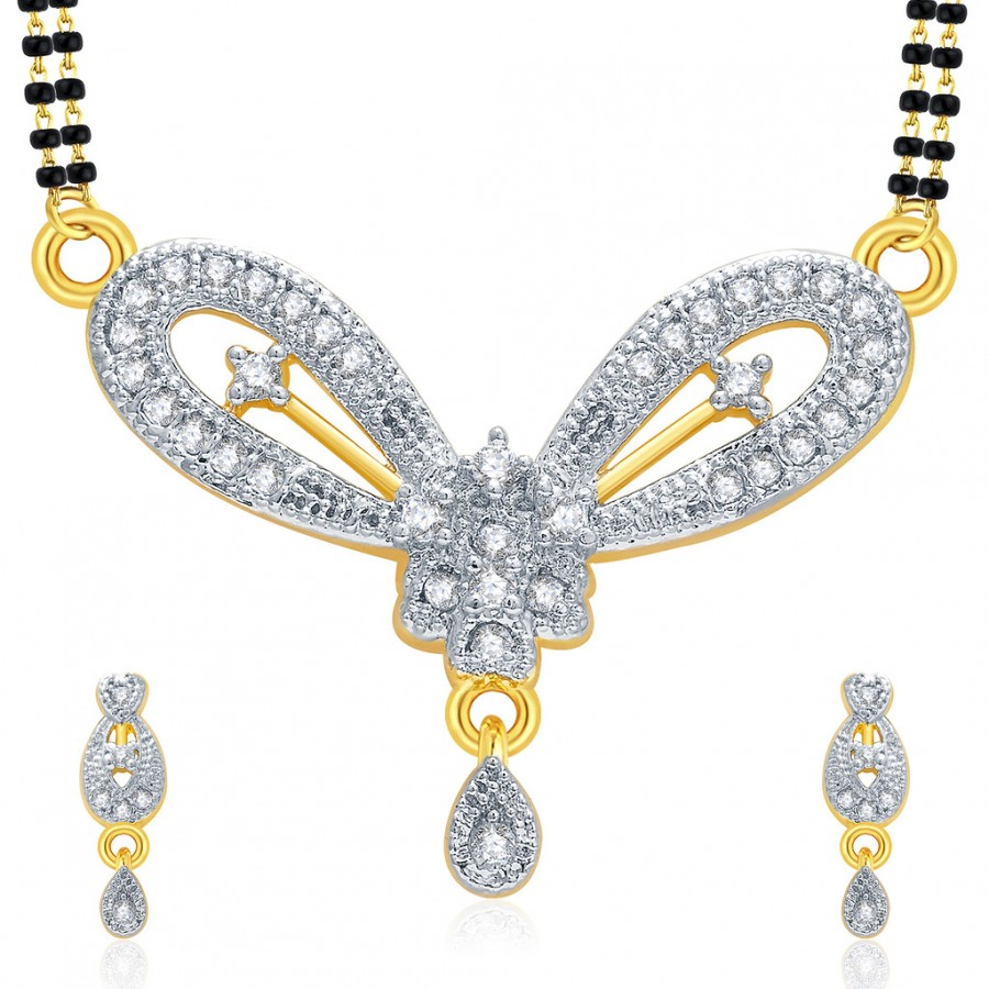 Buy Pissara Striking Gold And Rhodium Plated CZ Mangalasutra Set For Women Online