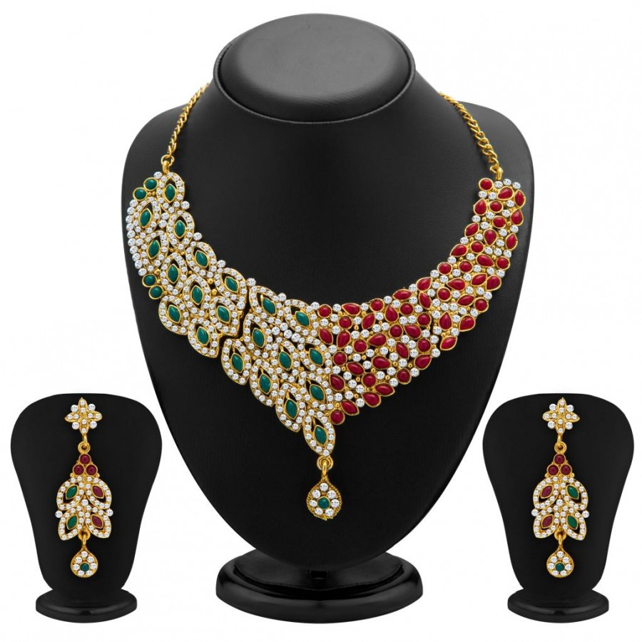 Buy Sukkhi Delightly Gold Plated Meenakari AD Necklace Set for Women Online