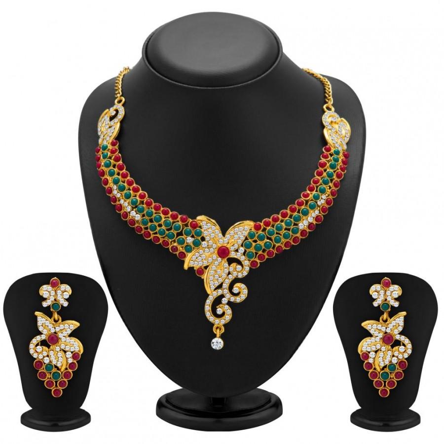 Buy Sukkhi Briliant Gold Plated Meenakari AD Necklace Set for Women Online