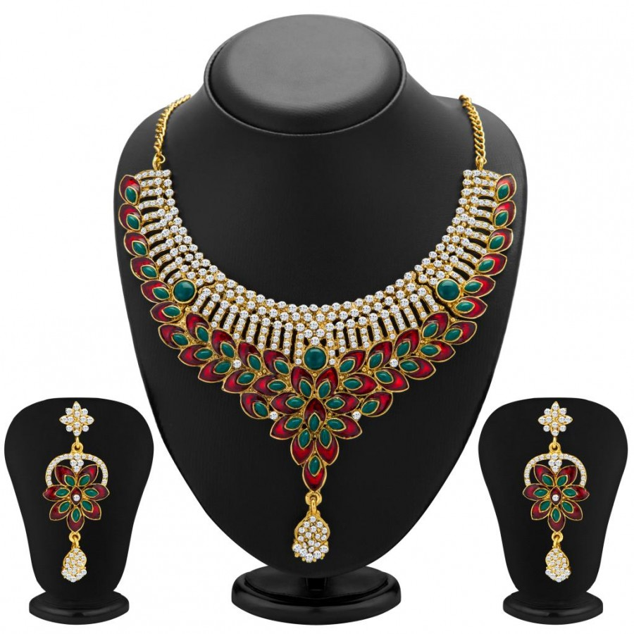 Buy Sukkhi Glorius Gold Plated Meenakari AD Necklace Set for Women Online