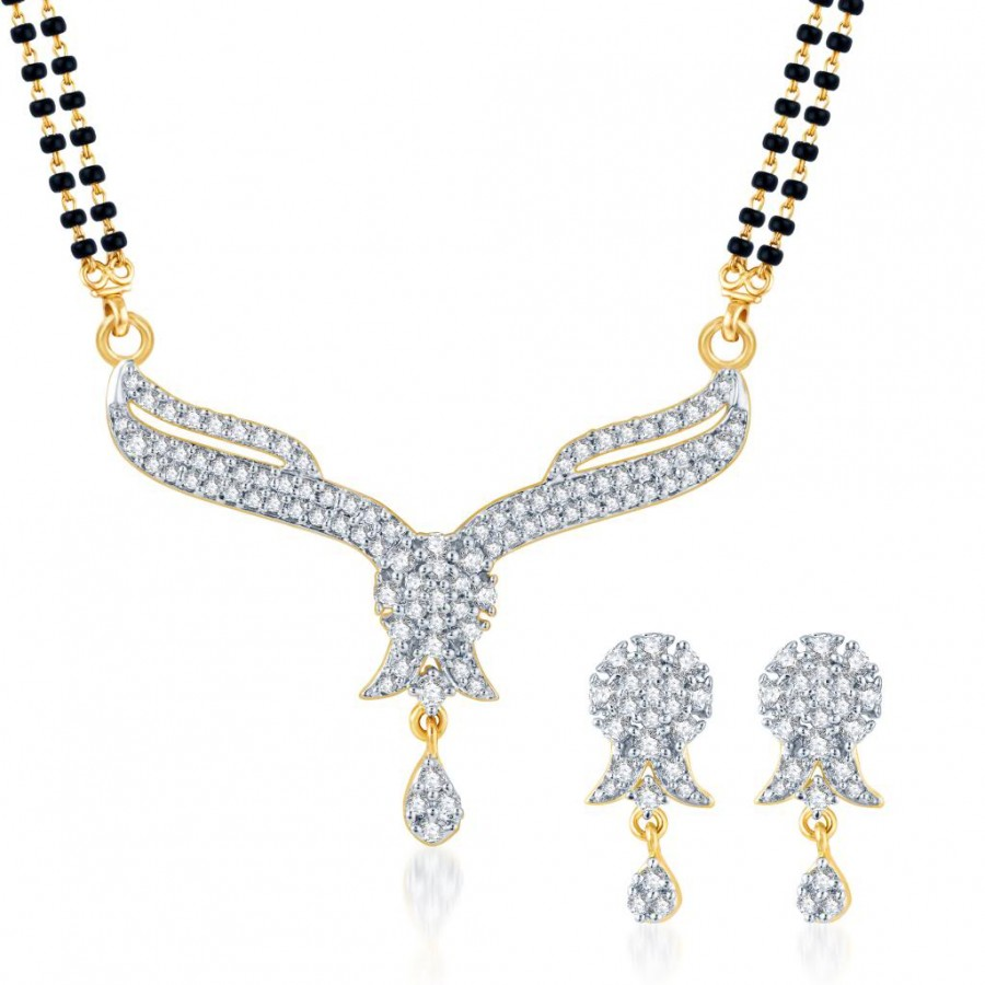Buy Pissara Gleaming CZ Gold and Rhodium Plated Mangalsutra Set Online