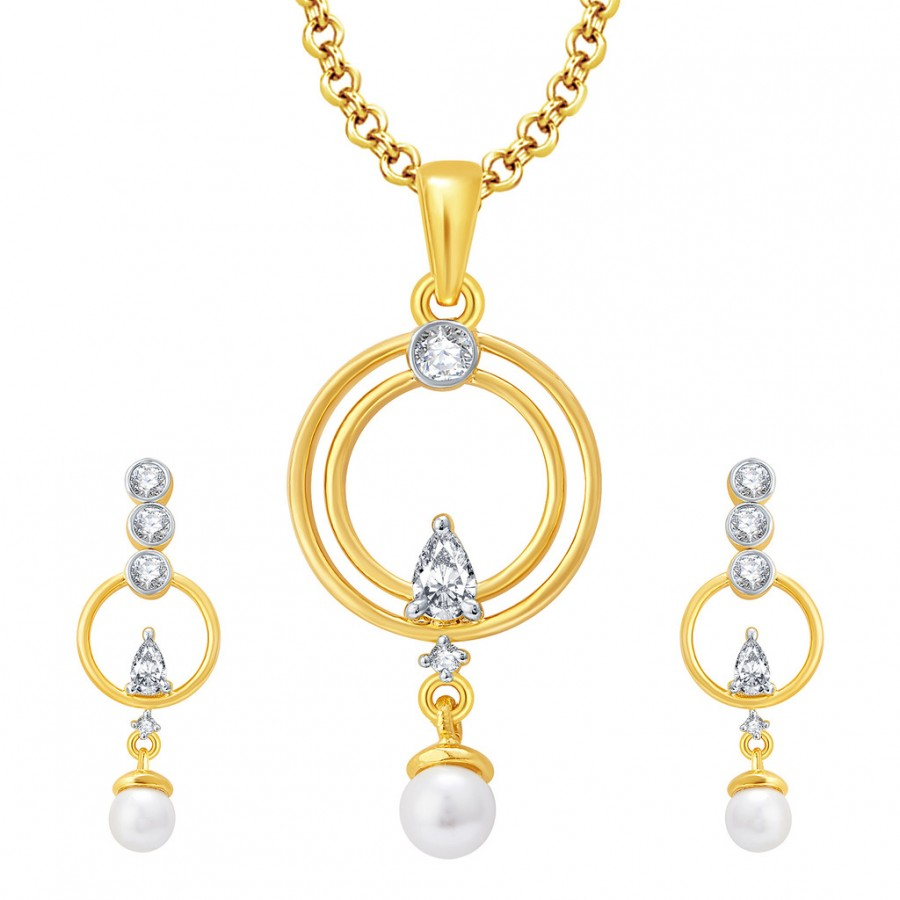 Buy Pissara Polished Gold And Rhodium Plated CZ Pendant Set For Women Online