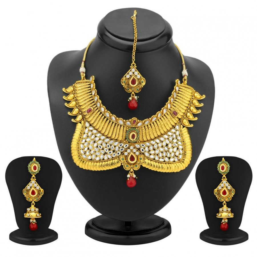 Buy Sukkhi Ravishing Gold Plated AD Antique Choker Set Online
