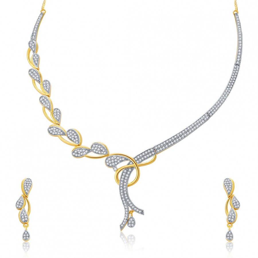 Buy Pissara Glorious Gold And Rhodium Plated CZ Neklace Set For Women Online